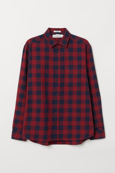 Oxford shirt Regular Fit - Dark red/Blue checked - Men | H&M CN