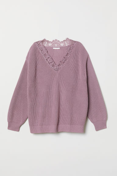 Knitted jumper with lace - Light purple - Ladies | H&M CN