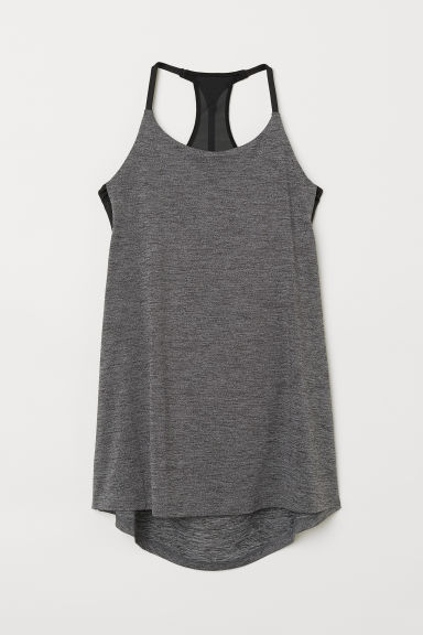 Sports top with sports bra - Grey marl - Ladies | H&M