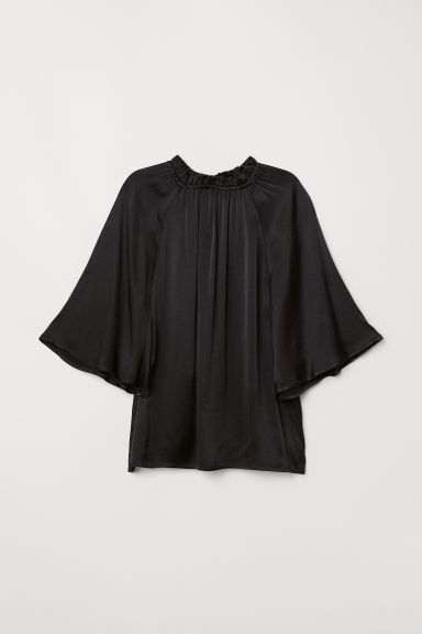 Blouse with a frilled collar - Black - Ladies | H&M