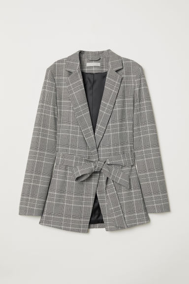 Jacket with a tie belt - Light grey/Checked - Ladies | H&M