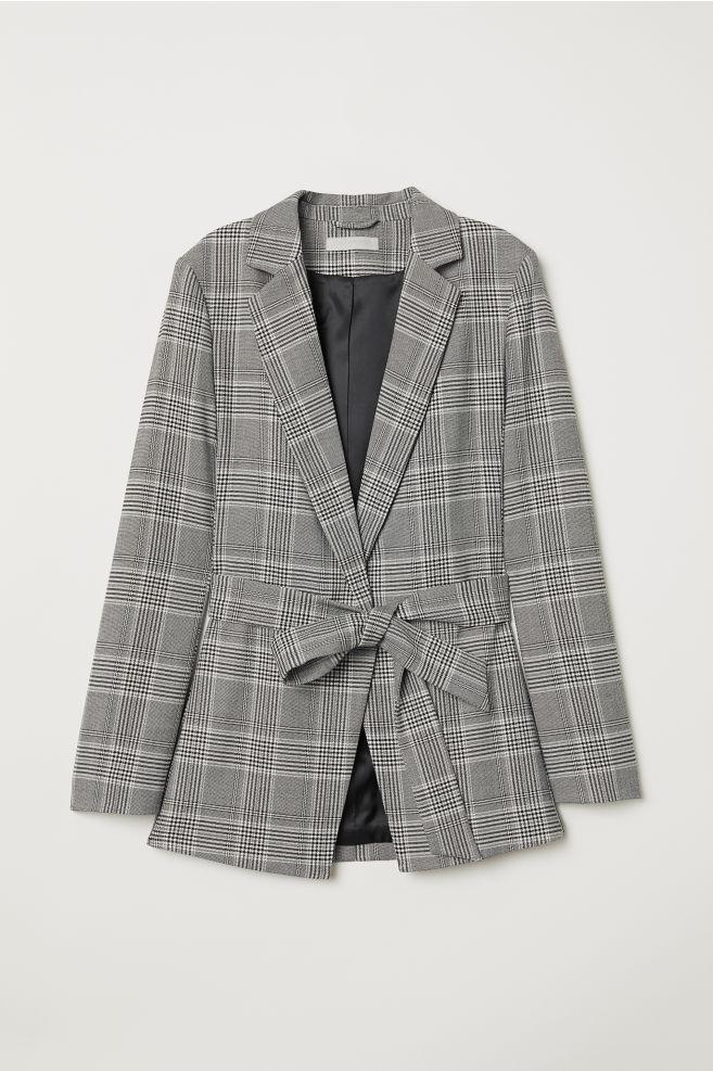 c97159d903 Blazer avec ceinture à nouer - Gris clair/carreaux - FEMME | H&M ...