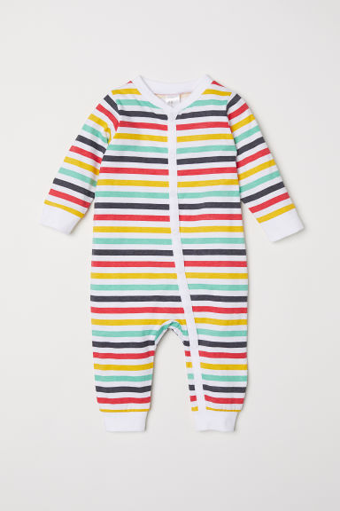 Printed all-in-one pyjamas - White/Multicoloured stripes -  | H&M CN