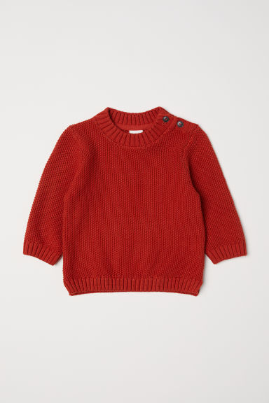 Purl-knit jumper - Dark orange -  | H&M