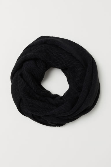 Knitted tube scarf - Black - Ladies | H&M CN