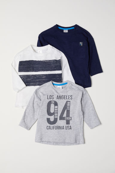 3-pack jersey tops - Dark blue - Kids | H&M CN