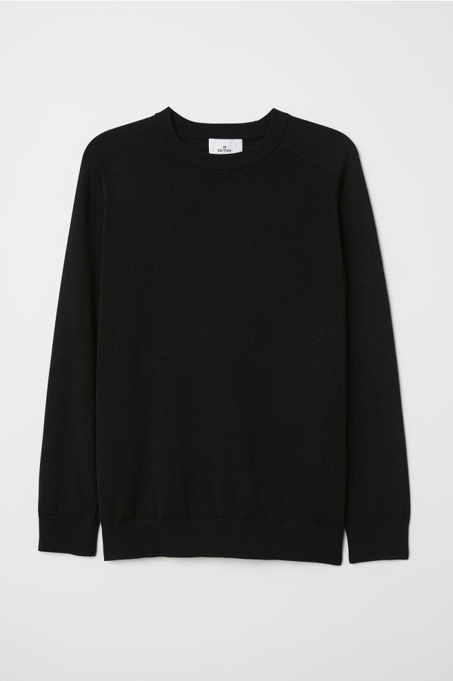 ebbc487e8b7 Fine-knit Silk-blend Sweater - Black - Men