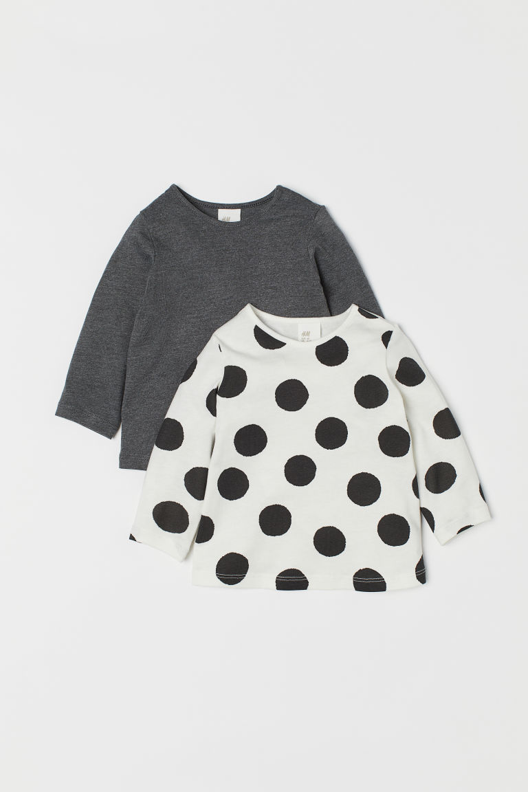 2-pack jersey tops - White/Spotted - Kids | H&M CN