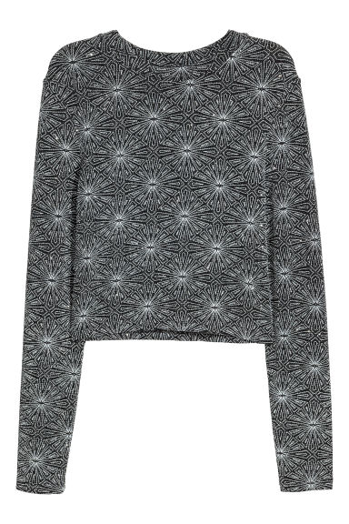 Glittery jersey top - Black/Silver-coloured -  | H&M CN