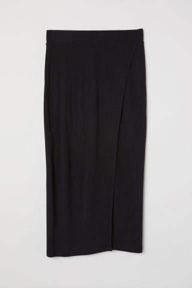 Jersey wrapover skirt - Black - Ladies | H&M