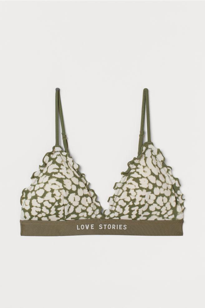 ceda9a5a56b93 ... Padded triangle bikini top - Khaki green/Leopard print - Ladies | H&M  ...