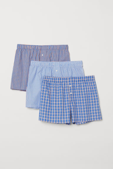 3er-Pack Boxershorts - Knallblau/Kariert - Men | H&M AT