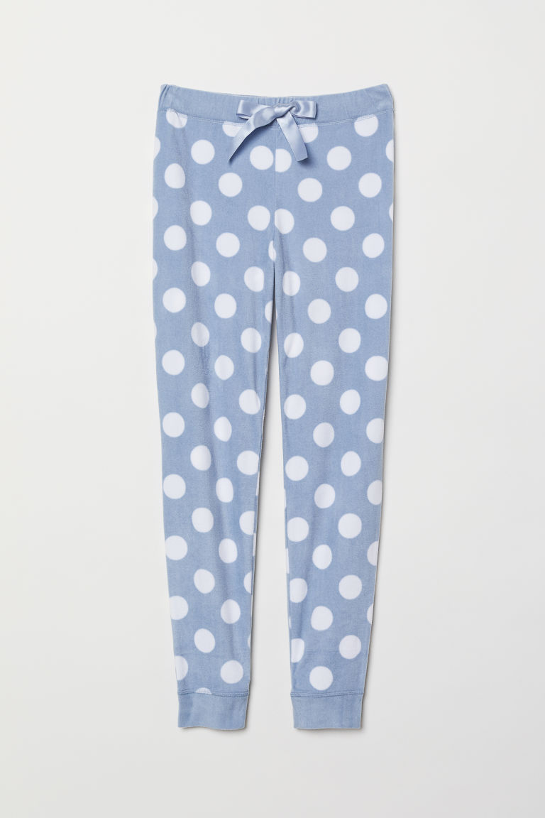 Fleece pyjama bottoms - Light blue/Spotted - Ladies | H&M CN