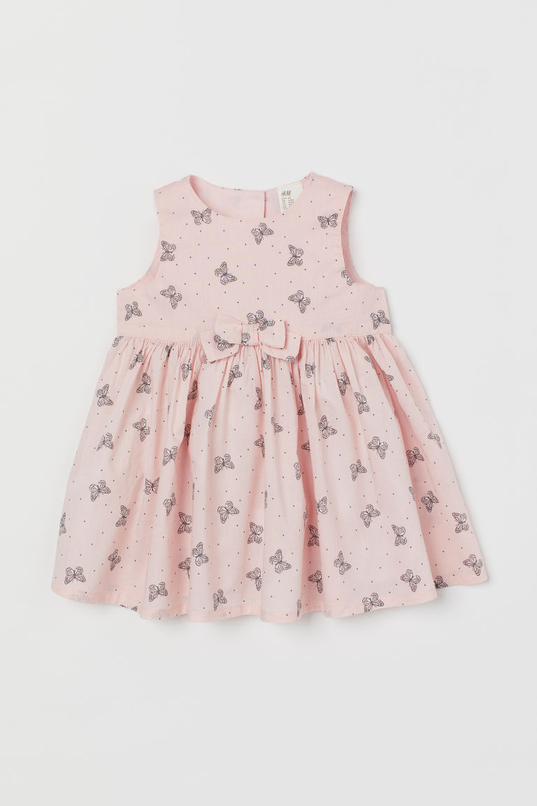Bow-detail dress - Light pink/Butterflies - Kids | H&M