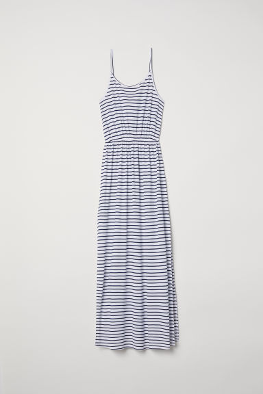 Maxi dress - White/Blue striped - Ladies | H&M CN