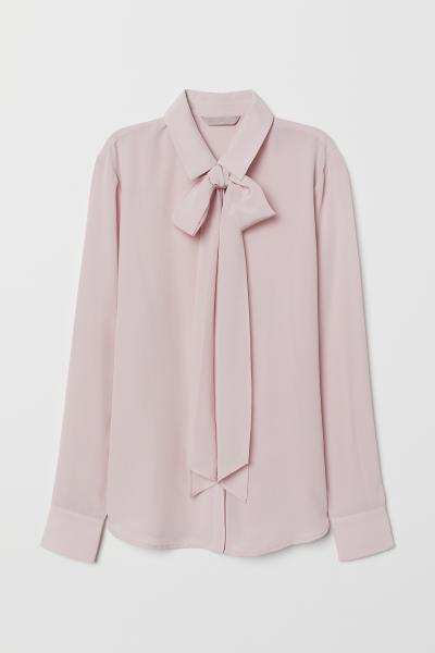 H&M - Blusa de seda con lazada - 5