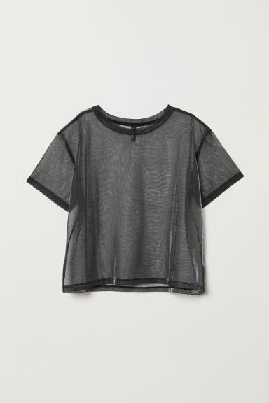 Top in mesh glitter - Nero -  | H&M IT