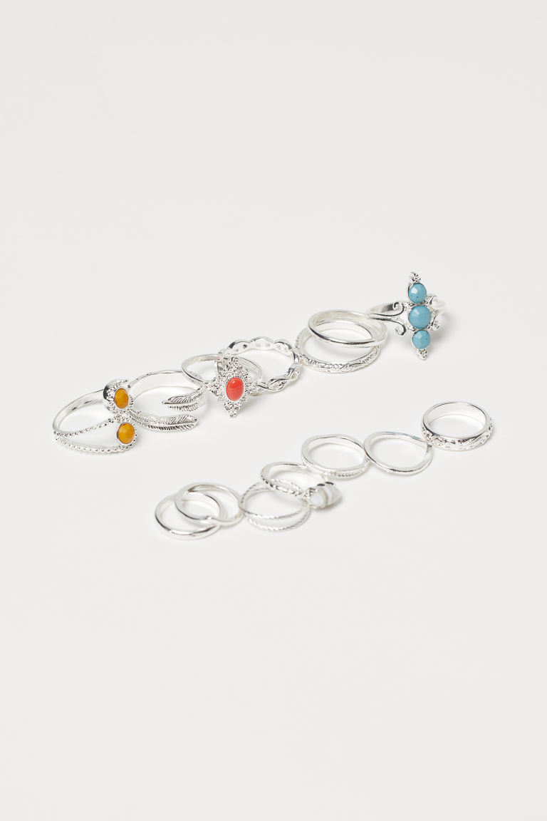 14-pack rings - Silver-coloured - Ladies | H&M IE