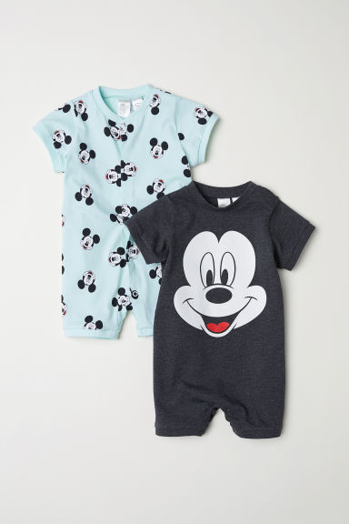 2-pack all-in-one pyjamas - Dark grey/Mickey Mouse - Kids | H&M