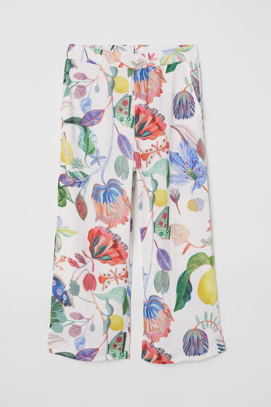 Patterned pull-on trousers - White/Botanical - Kids | H&M CN