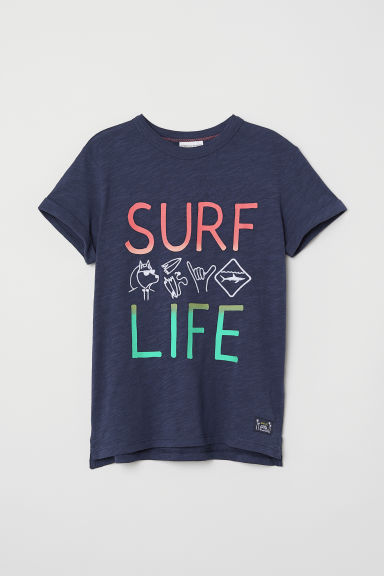 Printed T-shirt - Dark blue/Surf Life - Kids | H&M