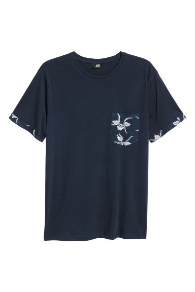 Cotton jersey T-shirt - Dark blue - Men | H&M
