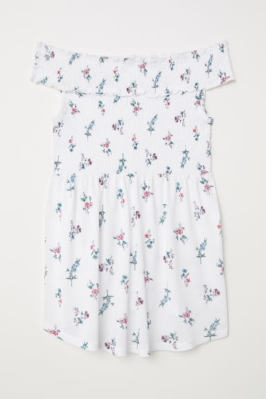 MAMA Off-the-shoulder top - White/Floral - Ladies | H&M