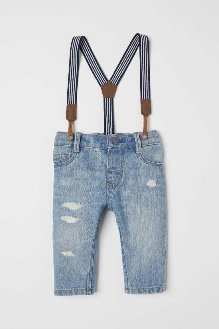 Jeans with Suspenders - Light denim blue - Kids | H&M US