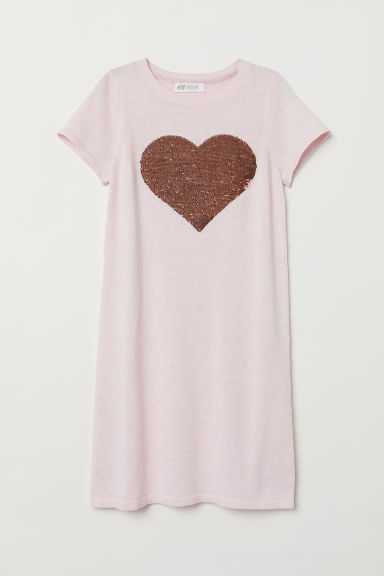 Dress with appliqué - Light pink/Heart - Kids | H&M