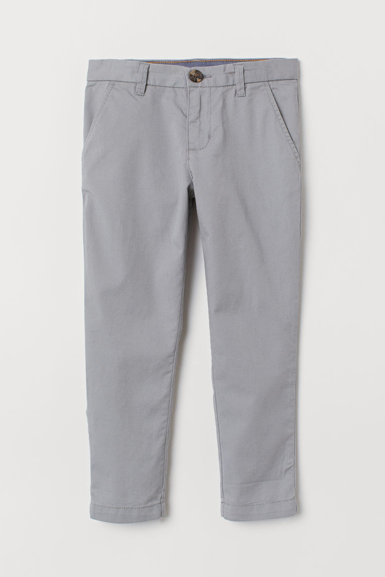 Cotton chinos - Grey -  | H&M CN
