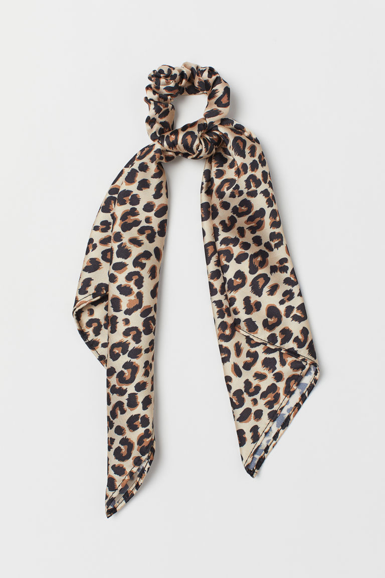 Scrunchie with ties - Light beige/Leopard print - Ladies | H&M CN