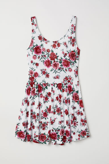 Jersey playsuit - White/Roses - Ladies | H&M