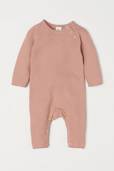 Fine-knit all-in-one suit - Old rose -  | H&M