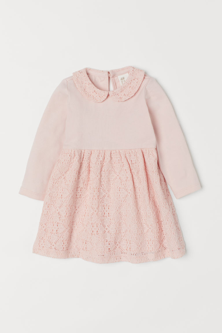 Dress with lace sections - Light pink - Kids | H&M CN