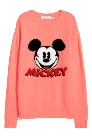 Fine-knit jumper - Coral/Mickey Mouse - Ladies | H&M