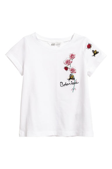 Tricot T-shirt met borduursel - Wit -  | H&M BE