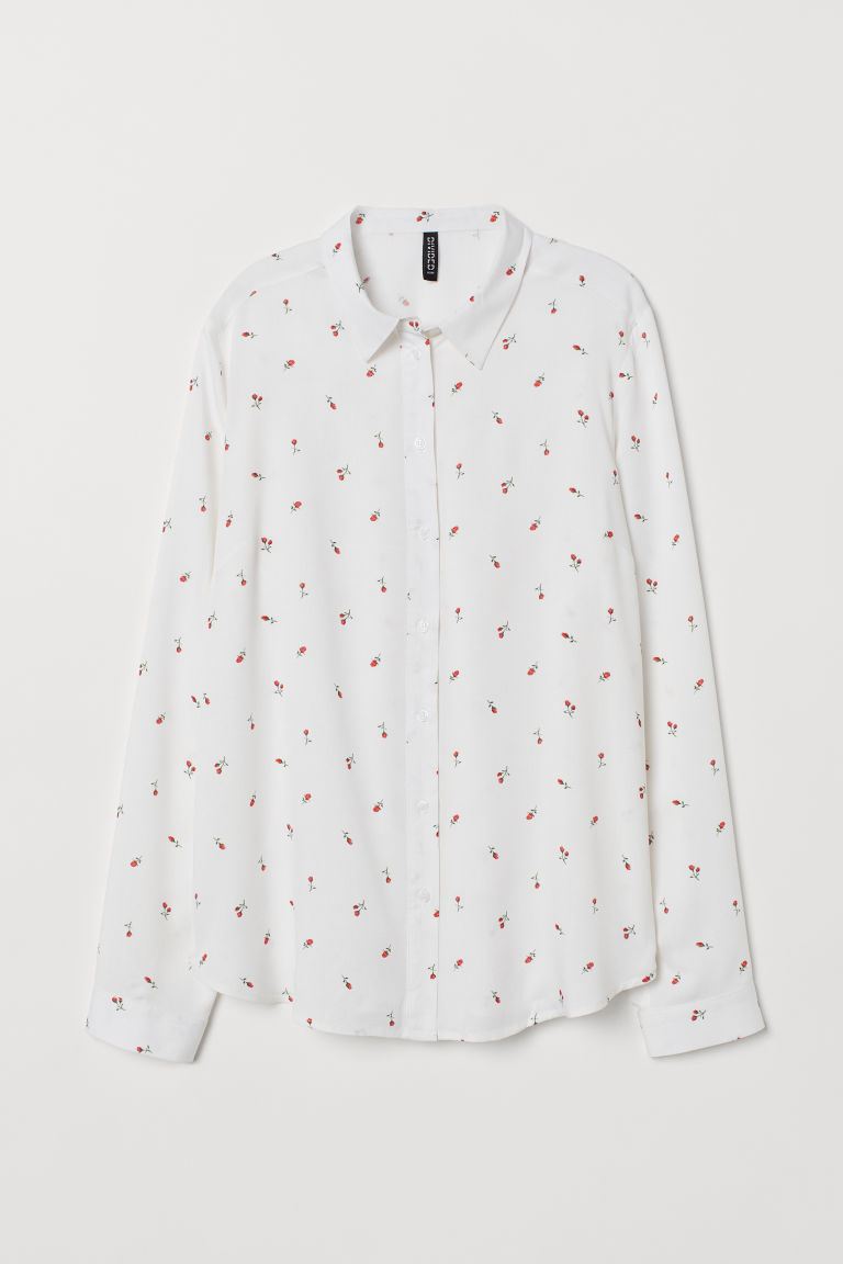 Viscose shirt - White/Roses -  | H&M CN