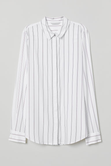 Long-sleeved blouse - White/Striped - Ladies | H&M