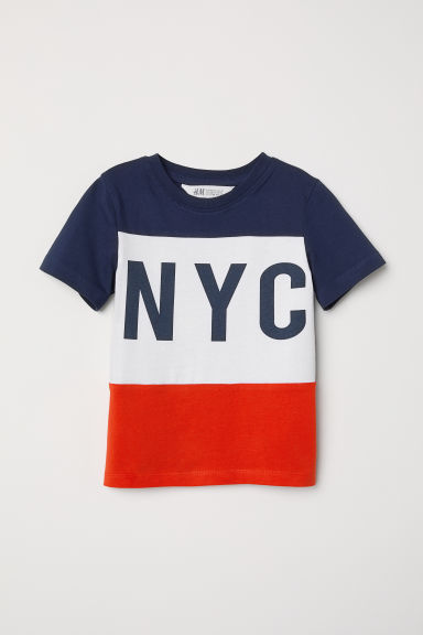 Block-print T-shirt - Dark blue -  | H&M CN