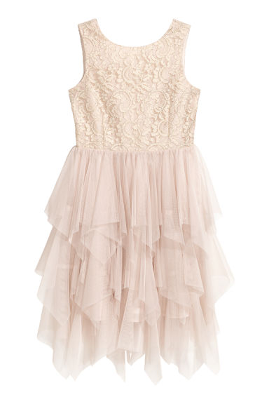 Sequin-embroidered tulle dress - Light beige/Lace - Kids | H&M CN