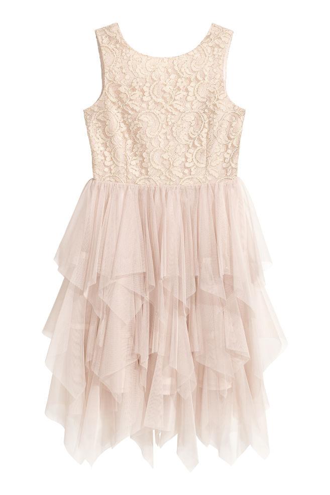 35485a84c0c89b Tulen jurk met pailletten - Lichtbeige kant - KINDEREN