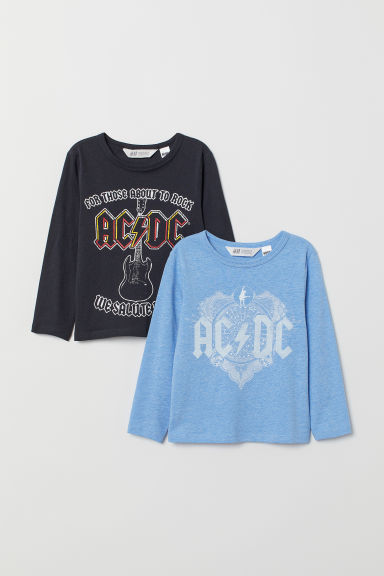 2-pack printed tops - Blue marl/AC/DC - Kids | H&M CN