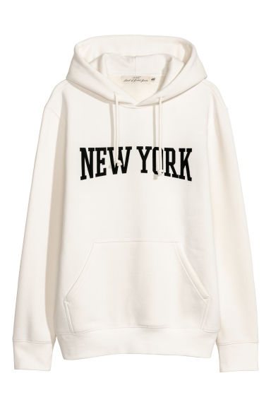 Hooded top with a motif - White/New York - Men | H&M GB