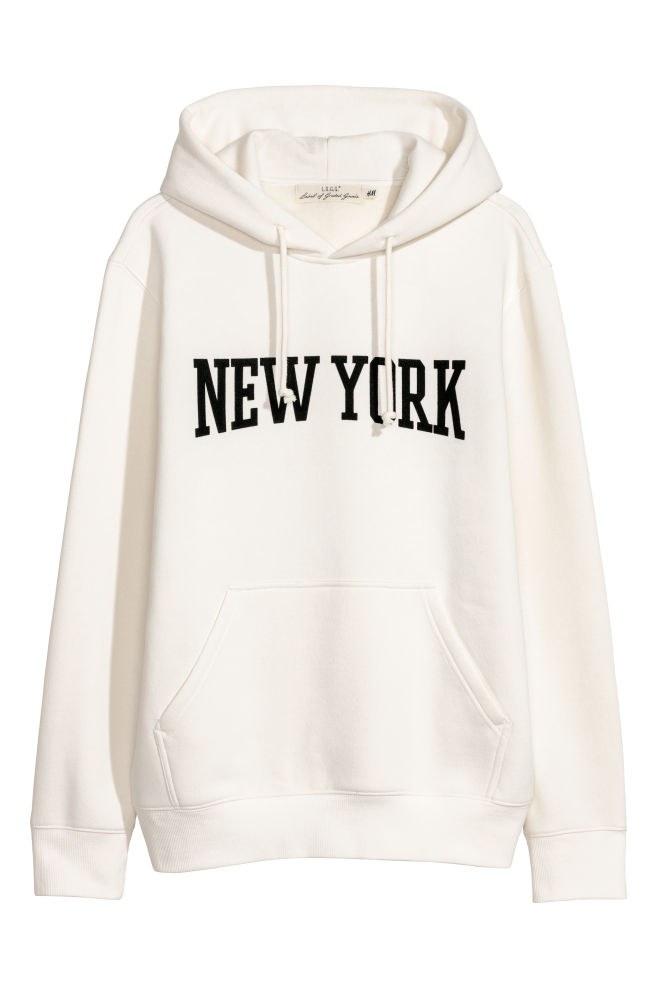 8c0bd171d Hooded Sweatshirt with Motif - White/New York - Men   H&M ...