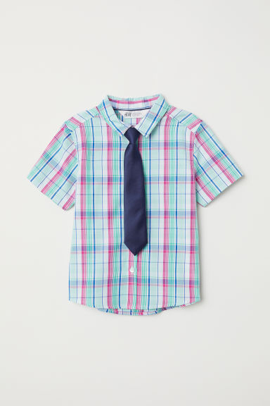 Shirt with a tie/bow tie - Green checked/Tie - Kids | H&M