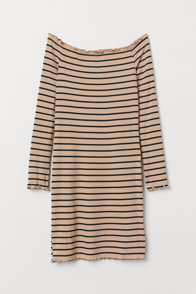 Off-the-shoulder Dress - Beige/black striped -  | H&M US