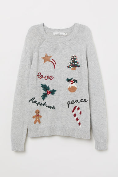 Jacquard-knit jumper - Light grey marl/Christmas tree - Ladies | H&M GB