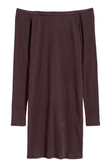 Off-the-shoulder dress - Dark plum -  | H&M GB