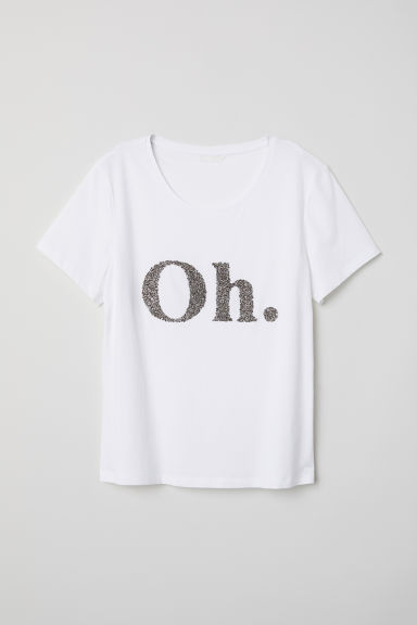 T-shirt with a motif - White/Oh - Ladies | H&M