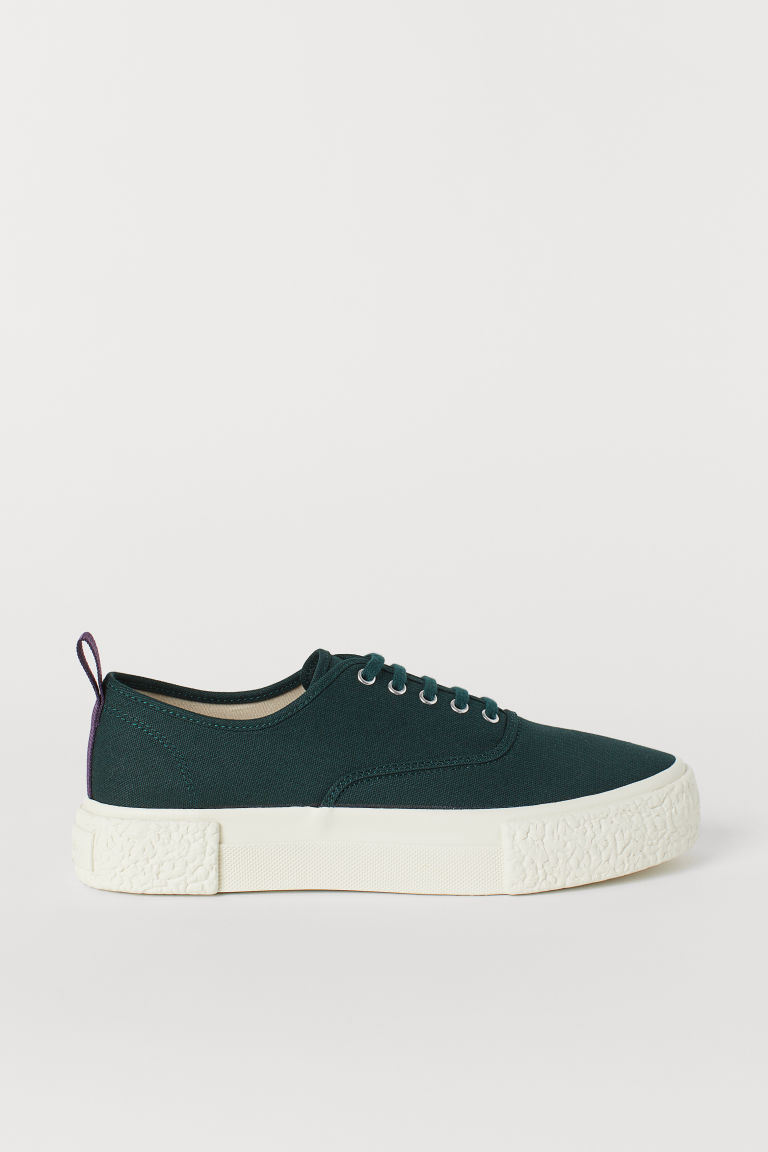 Canvas trainers - Dark green - Men | H&M